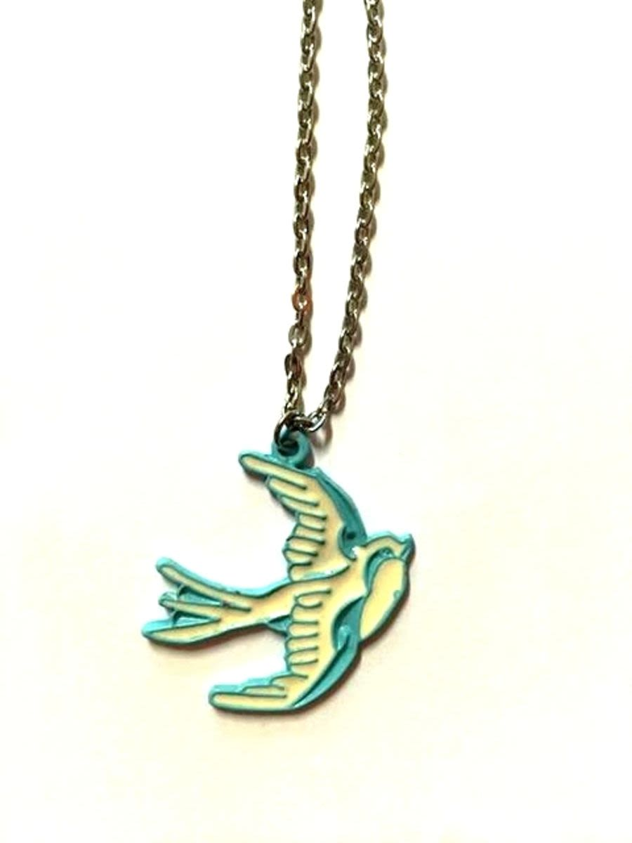 Rockabilly inspired Blue Swallow necklace