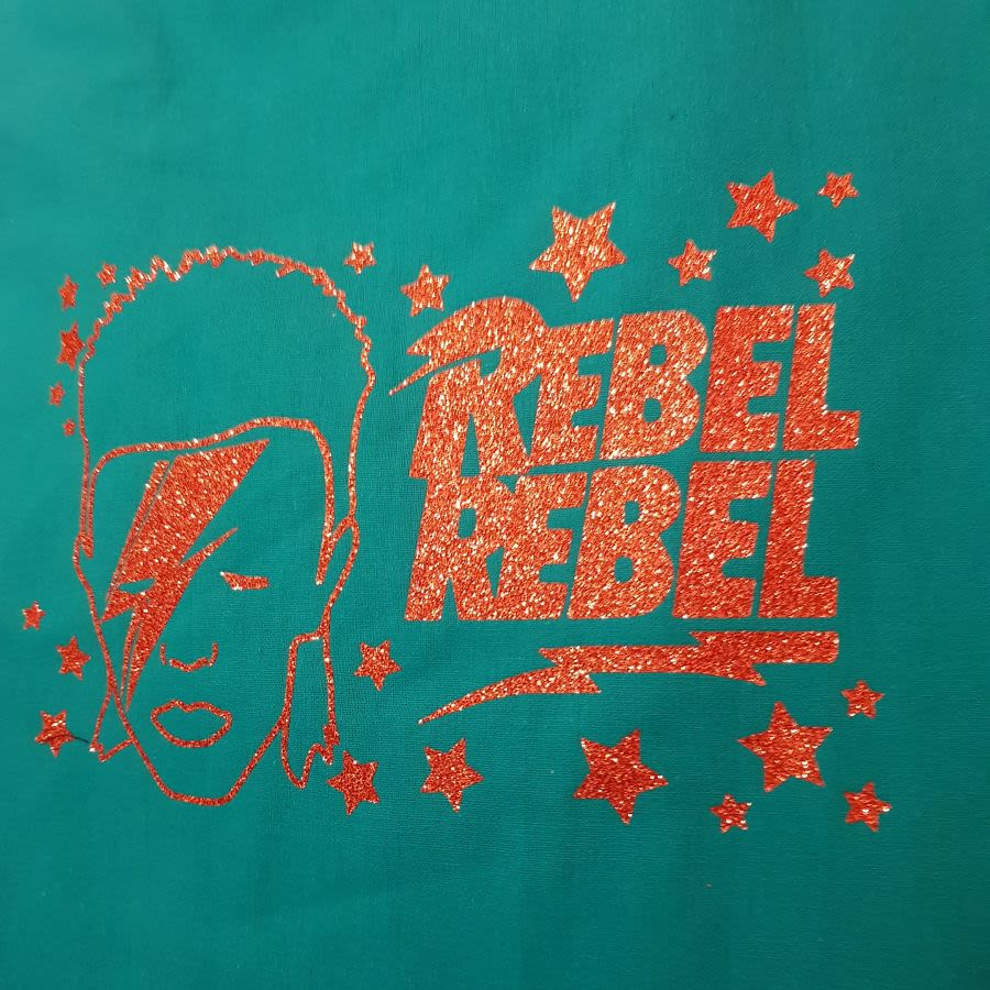 Rebel Rebel, Bowie Inspired Cotton Tote Shopping Bag