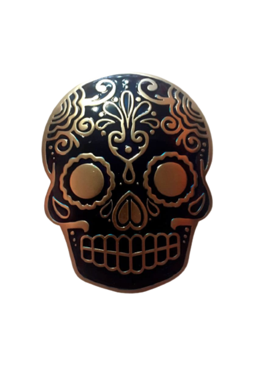 Day of The Dead Belt Buckle Blue