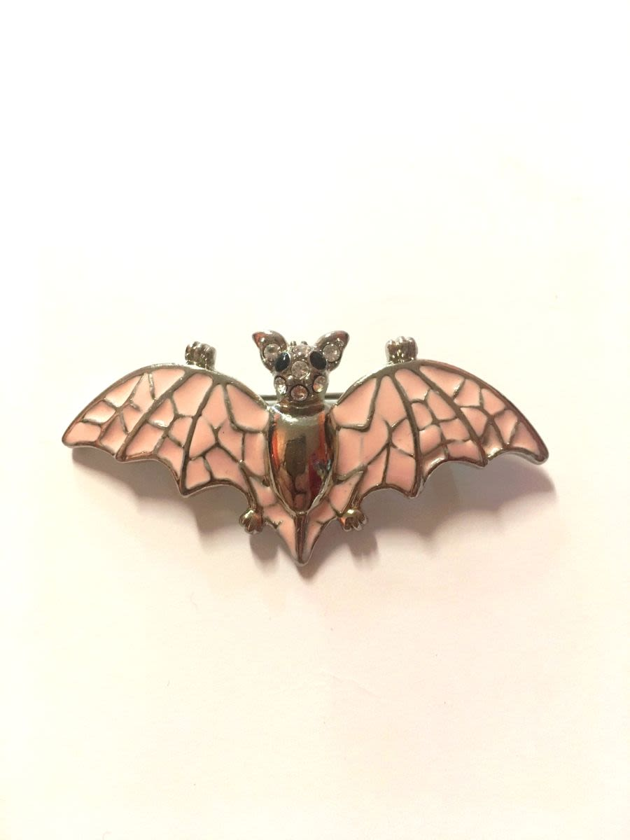 Pink Bat Diamante Brooch