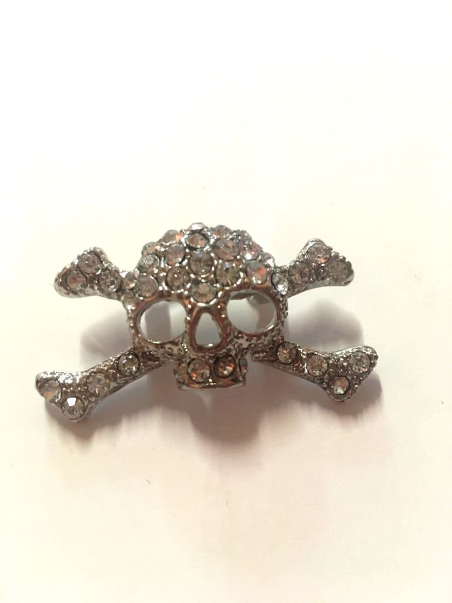 Vintage Skull and Cross Bones Diamante Brooch