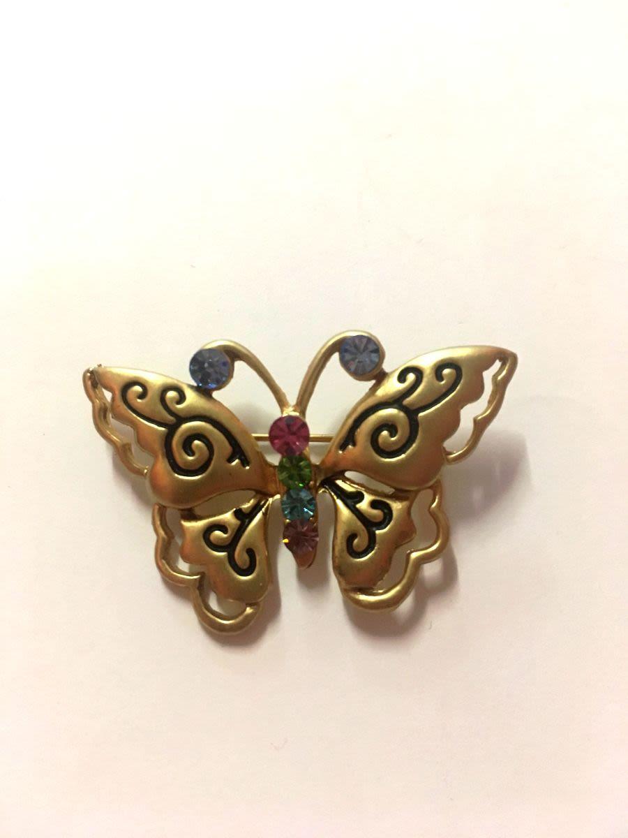 Gold Butterfly Rainbow Diamante Brooch