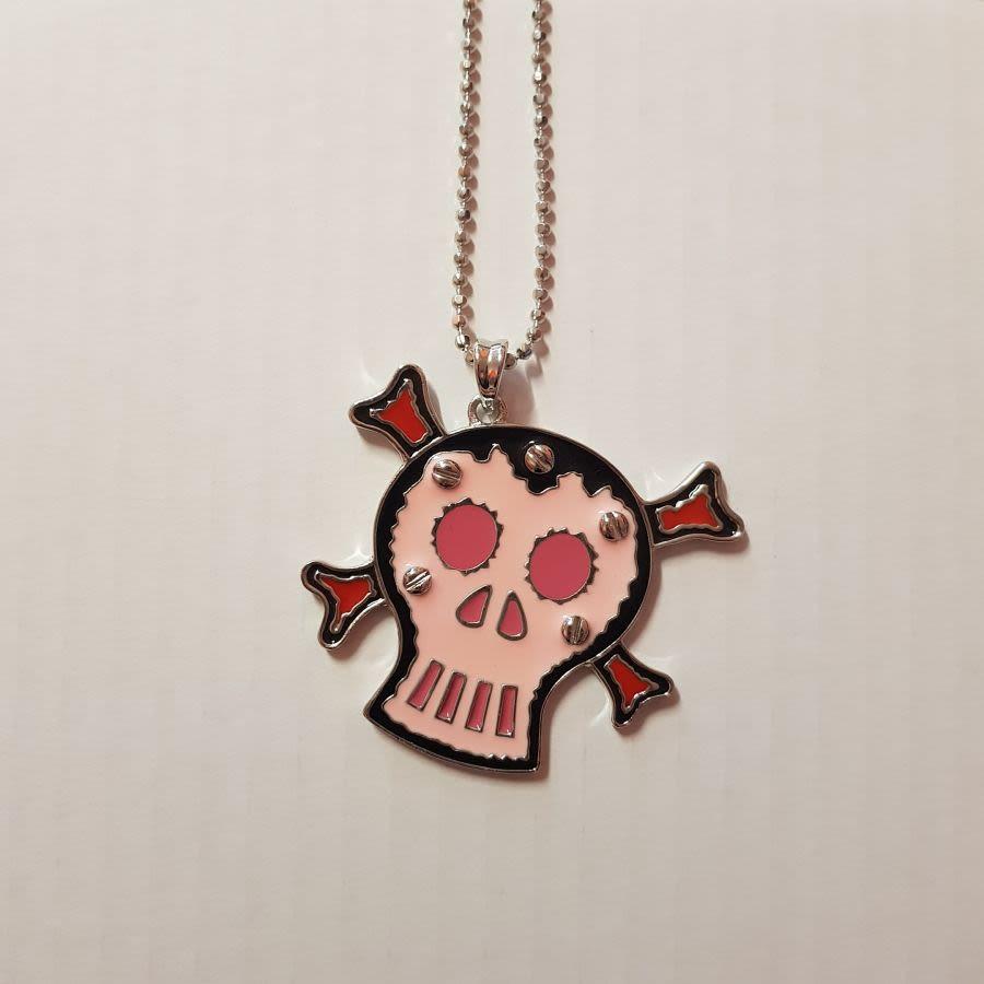 Pink Sugar Skull and Crossbones Necklace