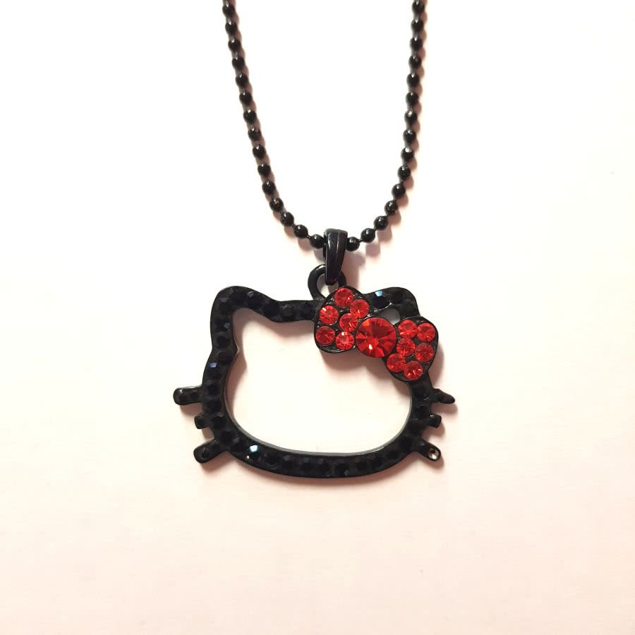 Hello Kitty Black Diamante Necklace