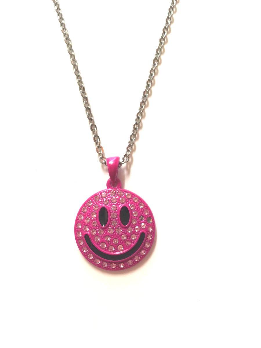 Pink Diamante Smiley Face Necklace