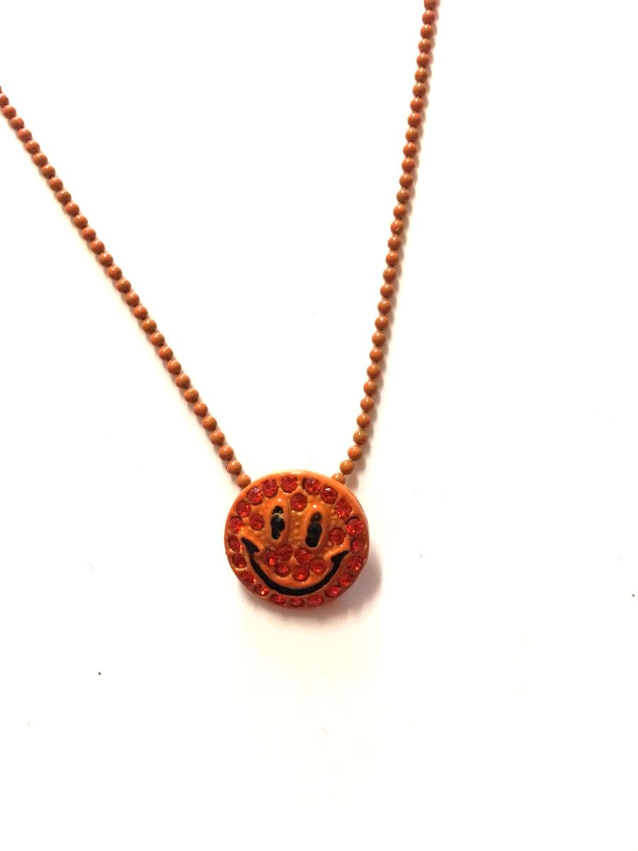 Vintage Orange Smiley Face Necklace