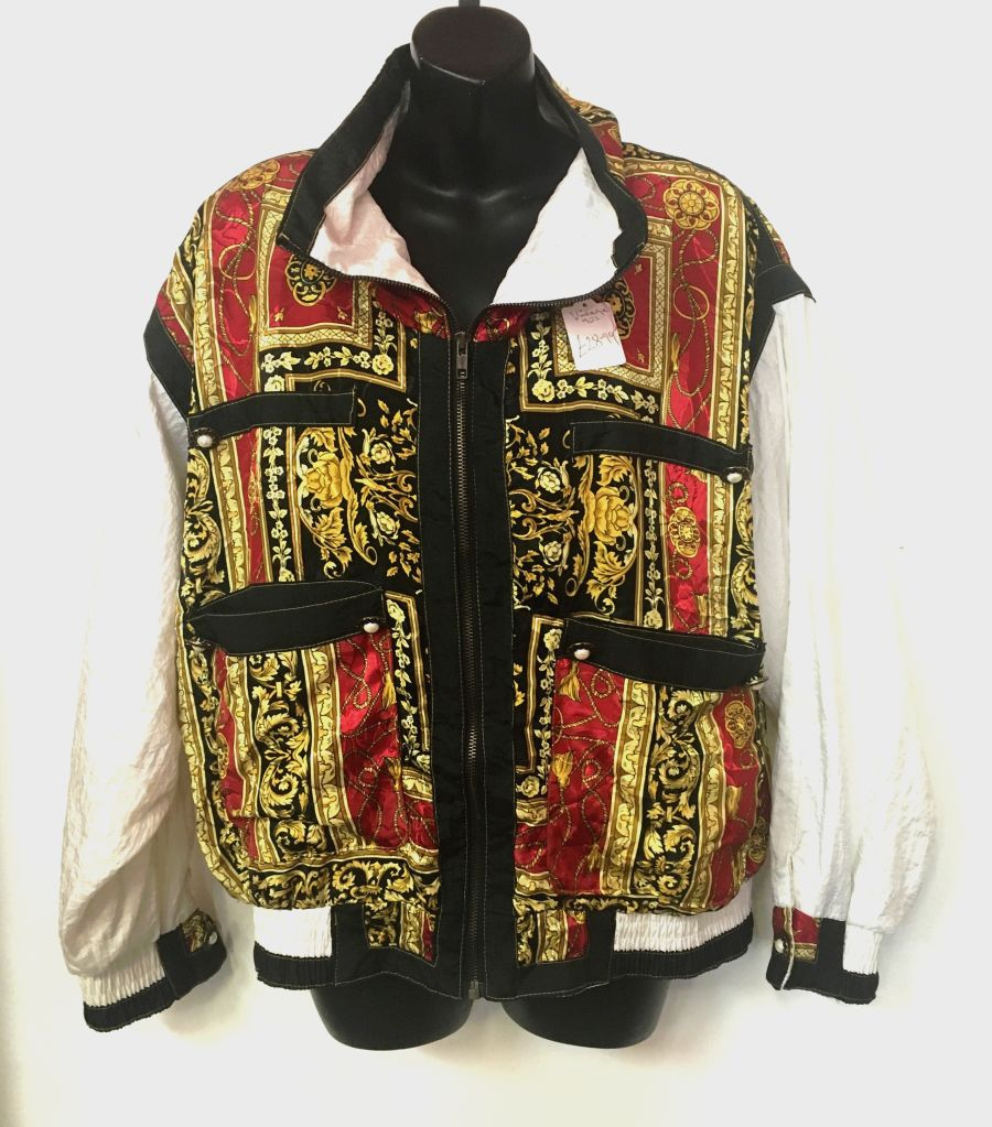 Vintage Womans Red, Gold and White filigree Tracksuit Jacket