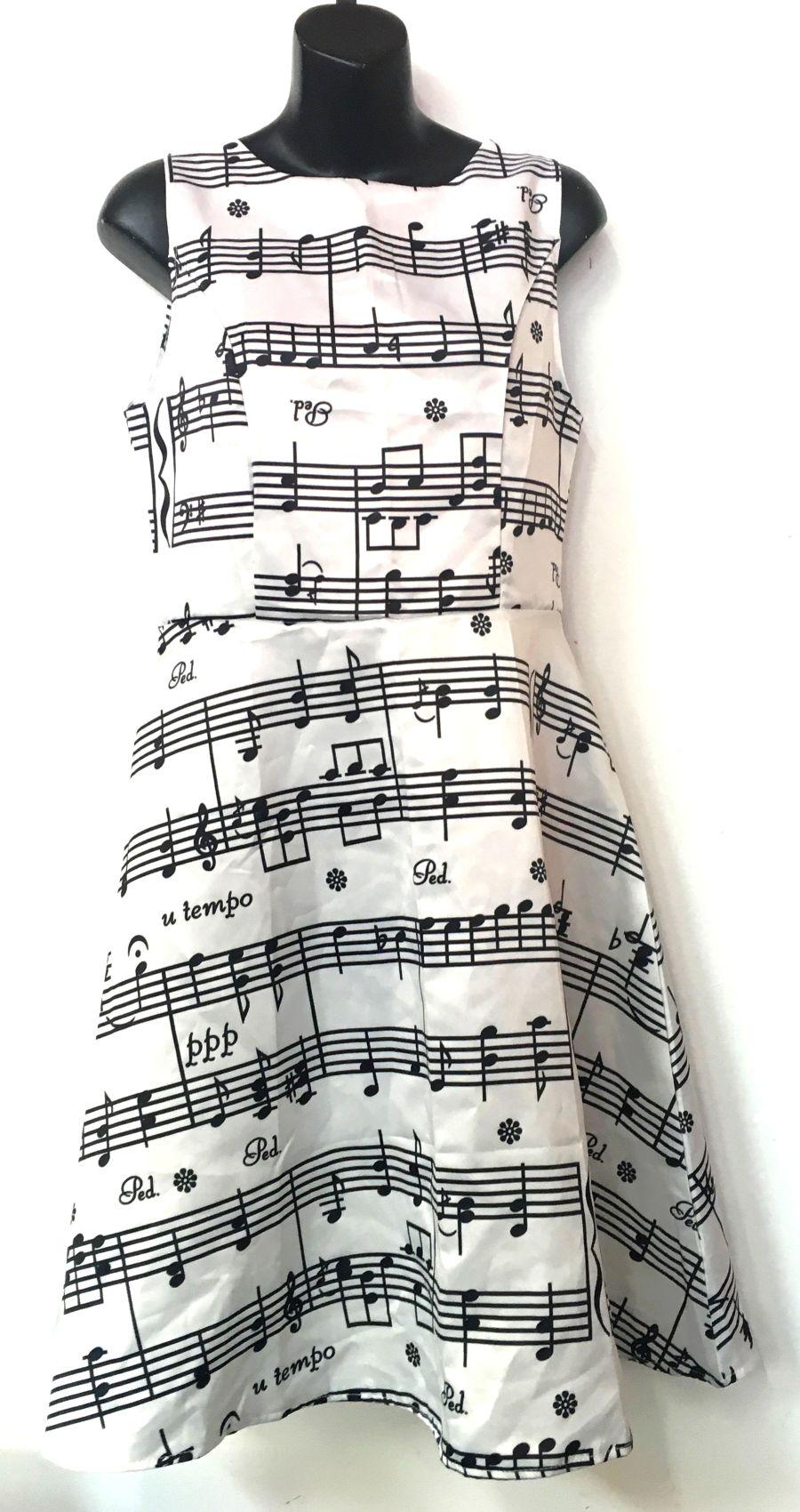 Vintage Womens Glyrfs Boutique Apparel Music Notes White Swing Dress