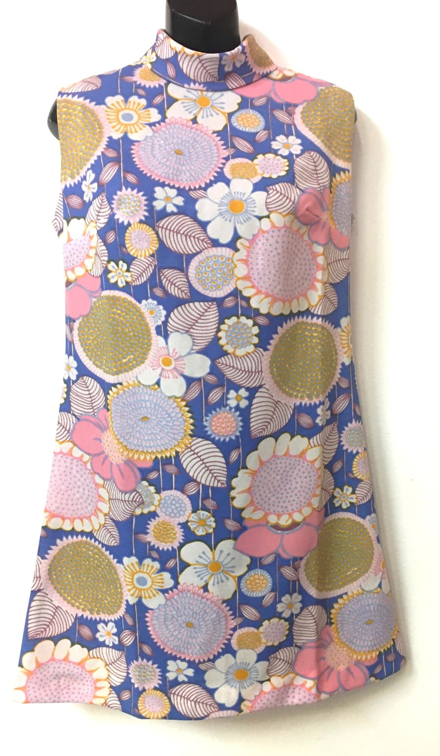 Vintage Womens 70's Style Turtleneck Lilac Pink Flower Power Dress