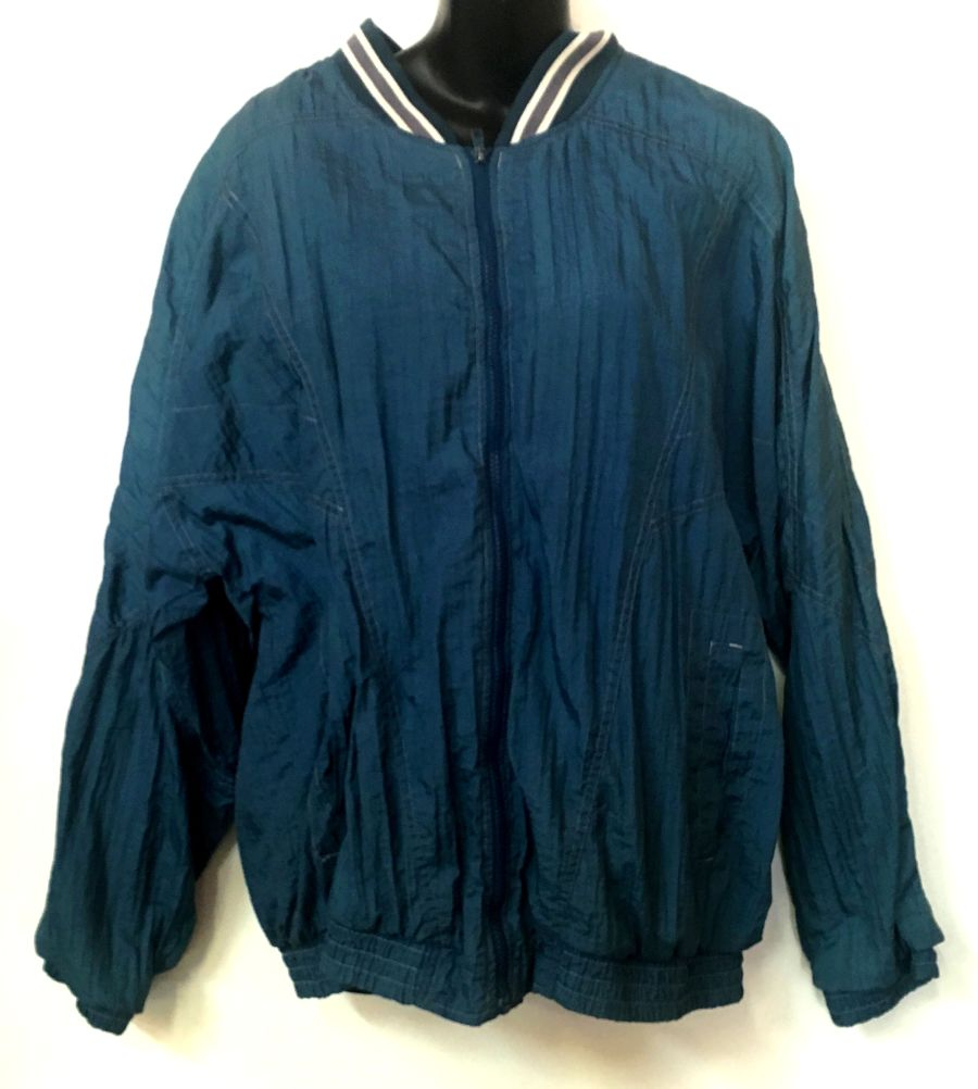 Vintage 90's sports luxe teal blue bomber jacket