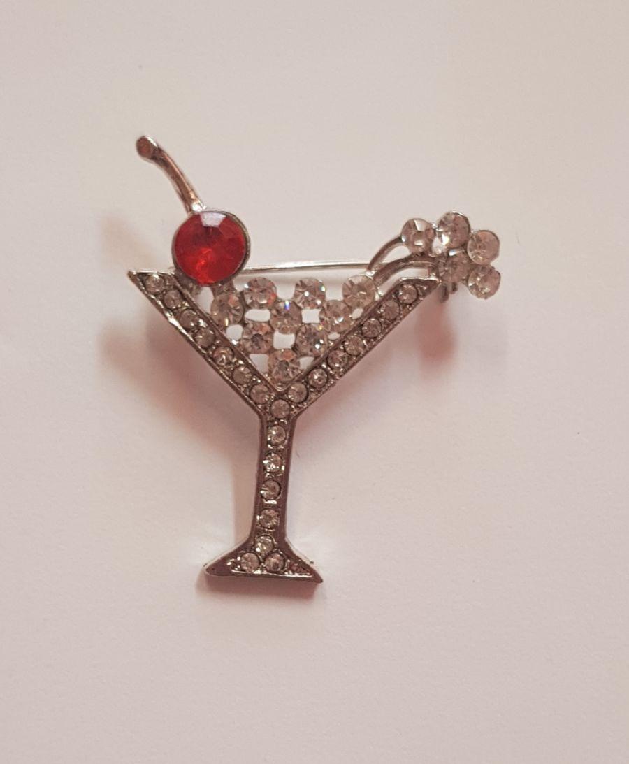 Diamante Cherry Martini Cocktail Brooch