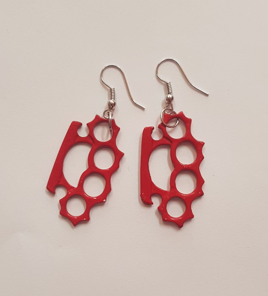 Red Knuckle Duster Earings