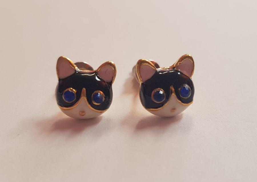 Blue Diamante Eyed Cat Stud Earings