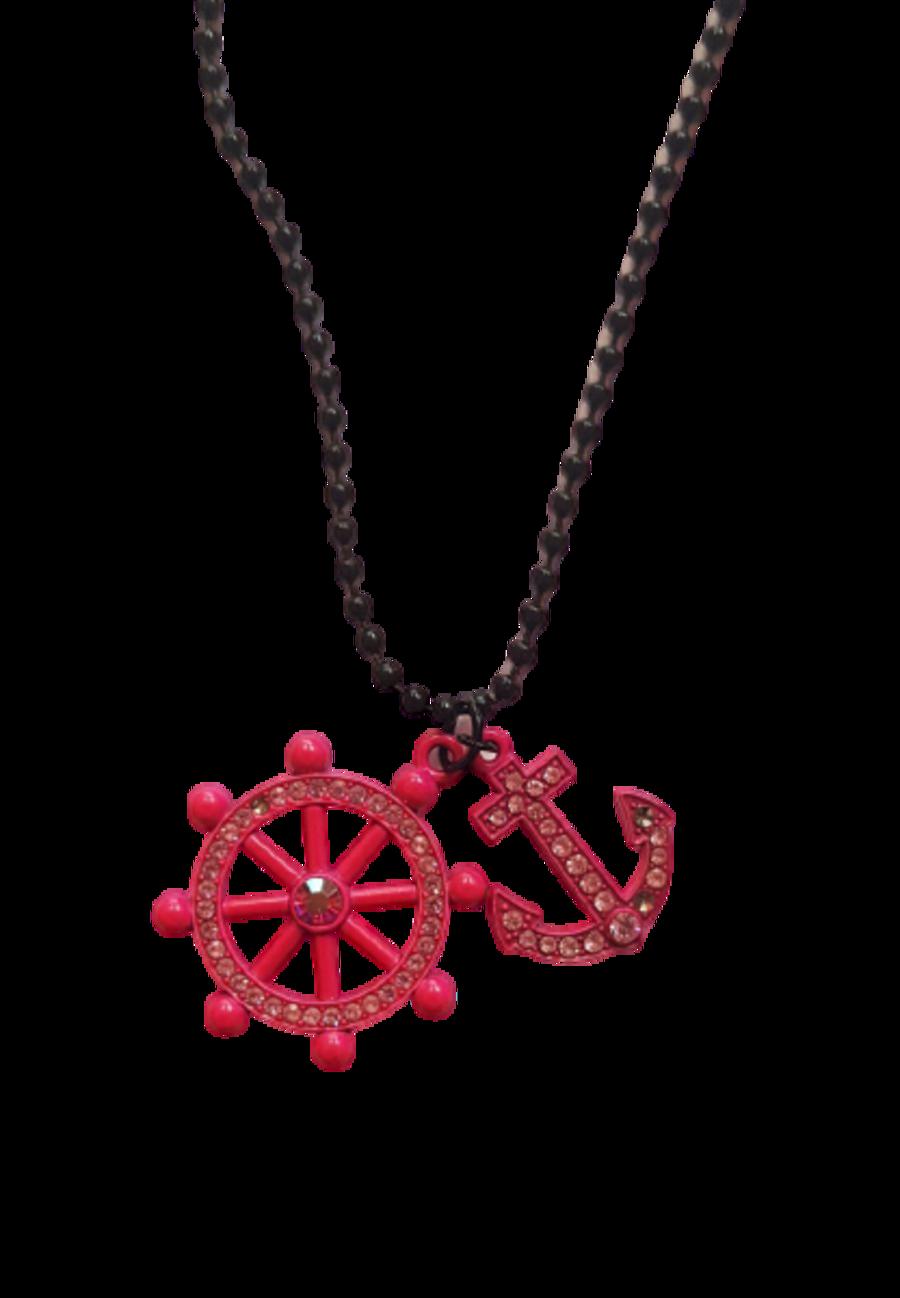 Pink Diamante Anchor Ship Steering Wheel Necklace