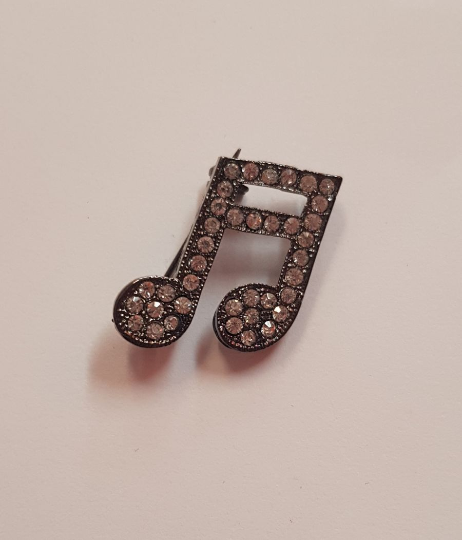 Music Note Diamante Brooch