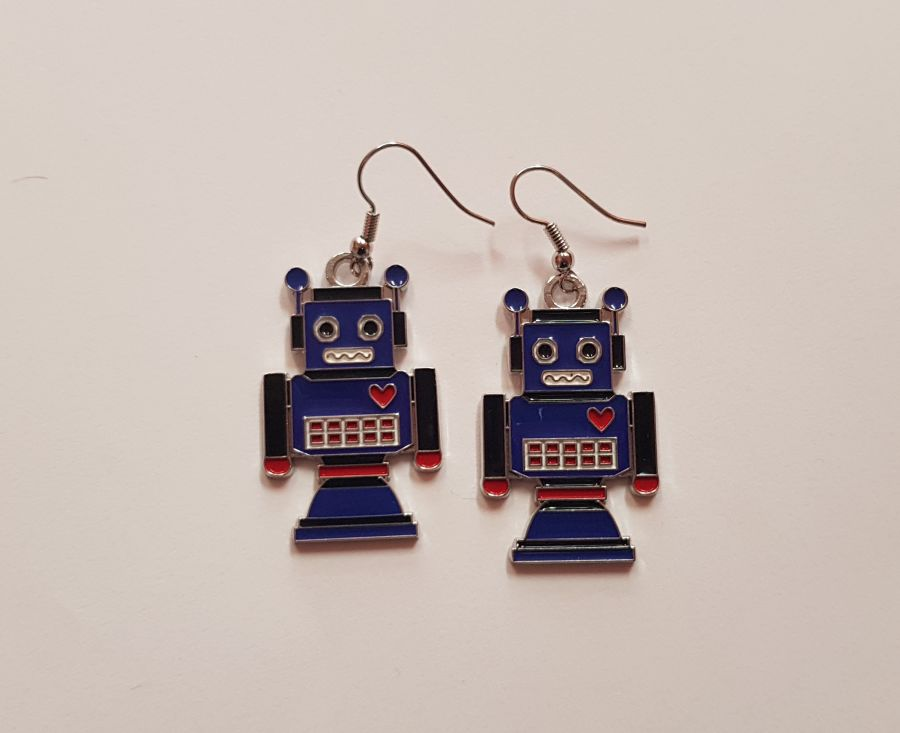 Blue Robot Earings