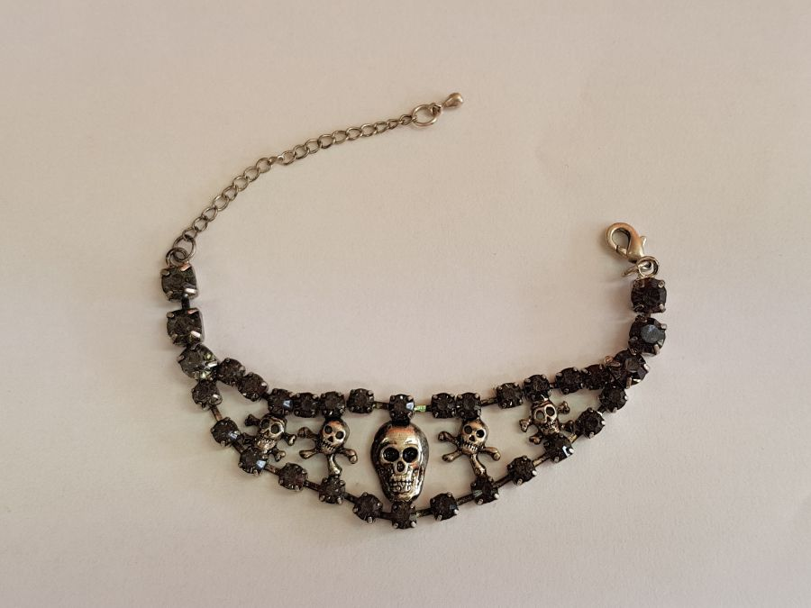 Skull and Cross Bones Black Diamante Bracelet
