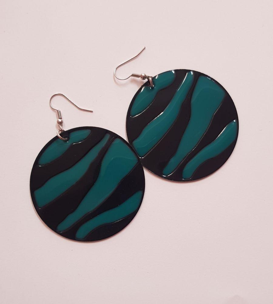 Turquoise Zebra Print Earings