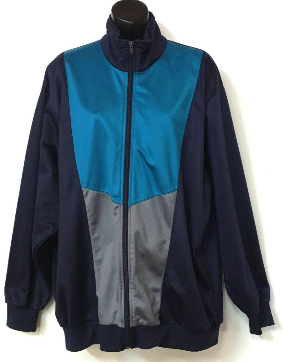 Vintage 1990's Navy Turquoise Blue and Grey Tracksuit Sportswear
