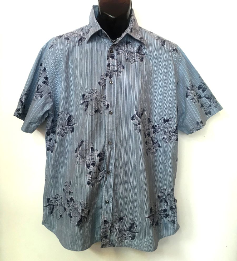 Vintage 1990's Tom Tailor Blue Stripped Short Sleeved Shirt