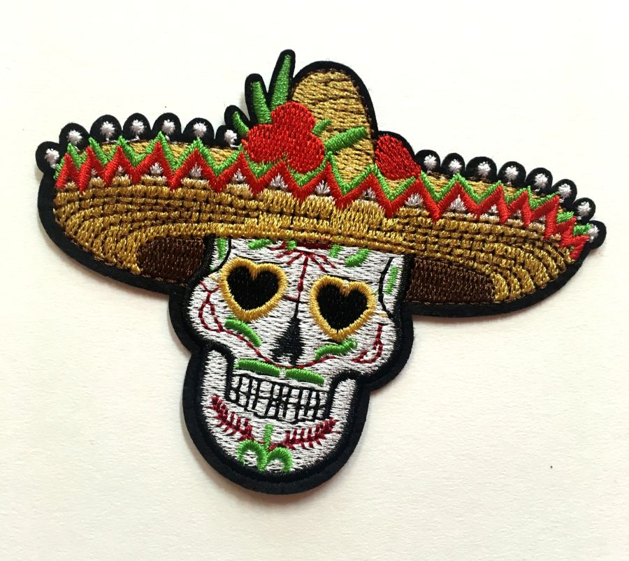 Mexican Hat Sugar Skull Patch