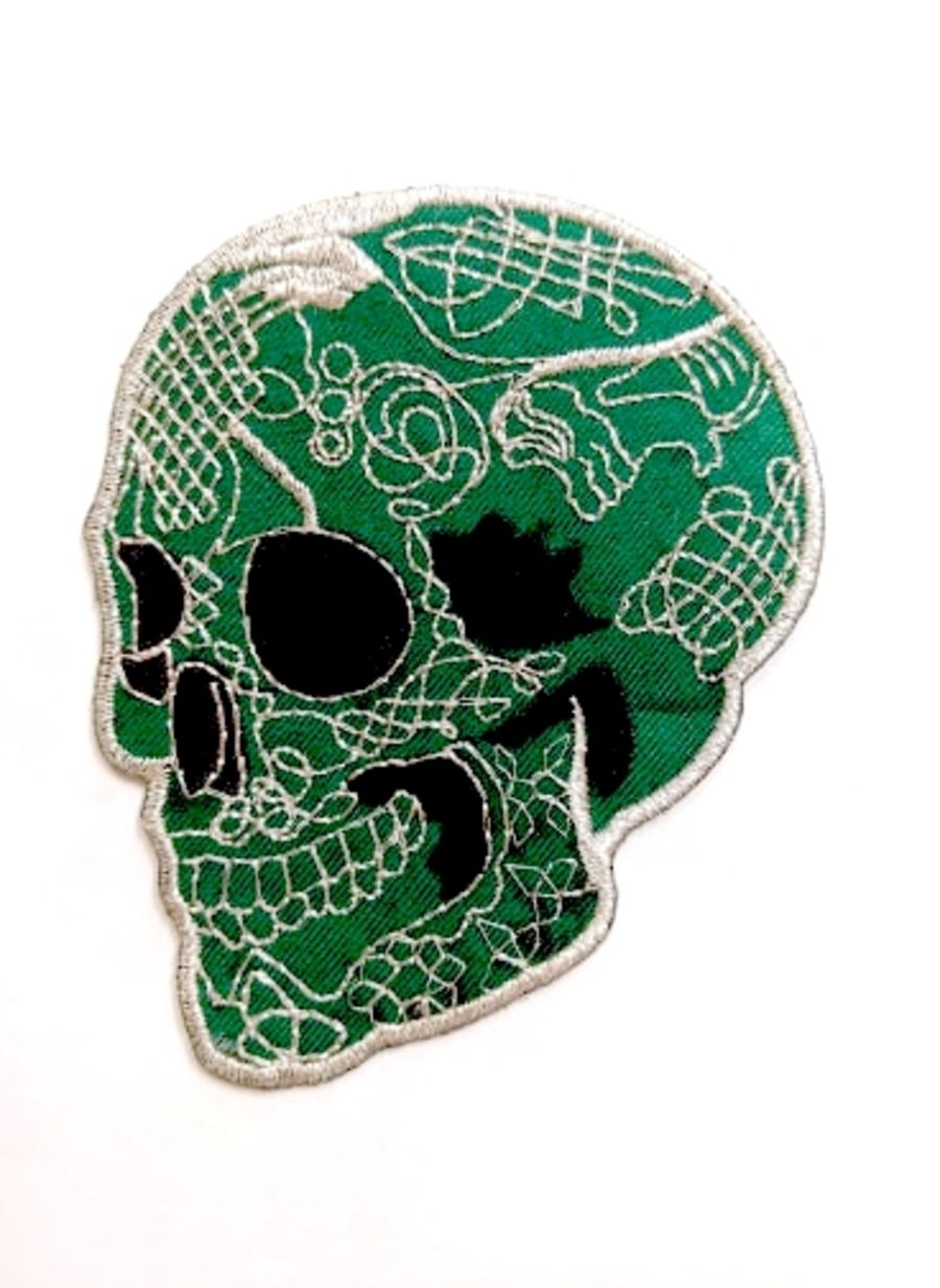 Large Green Sugar Skull Patch