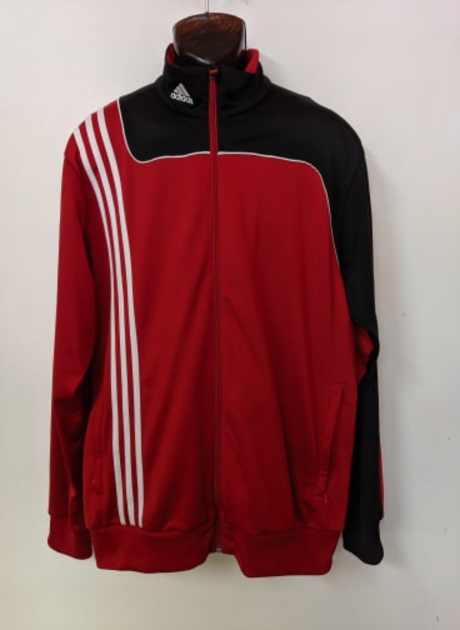 Vintage 1990's Adidas Red, White and Black Tracksuit Sportswear Jacket
