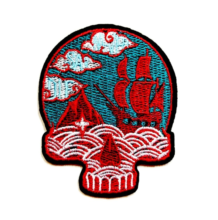 Sea View Ship and Waves Skull Patch