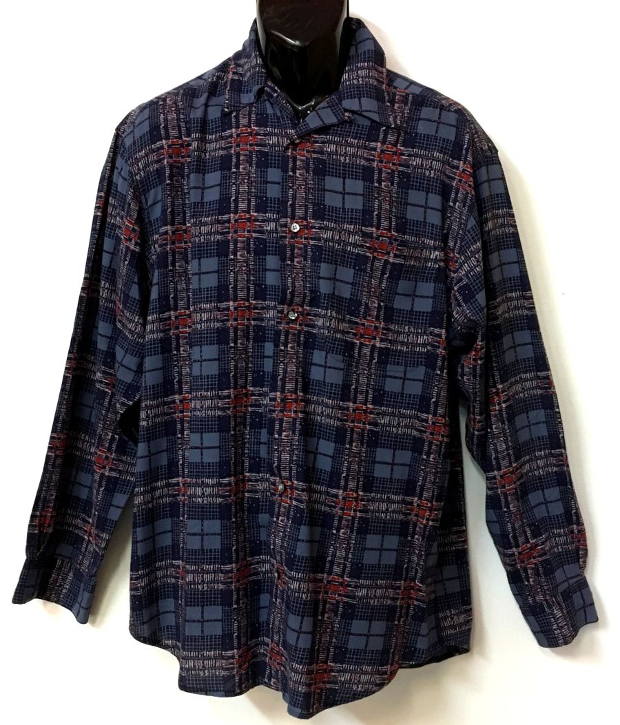 Vintage 1990's Burton Menswear Blue Red Pattern Long Sleeved Shirt