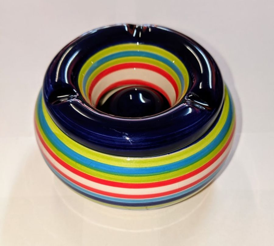 Out Of The Blue Striped Ash Tray Blue