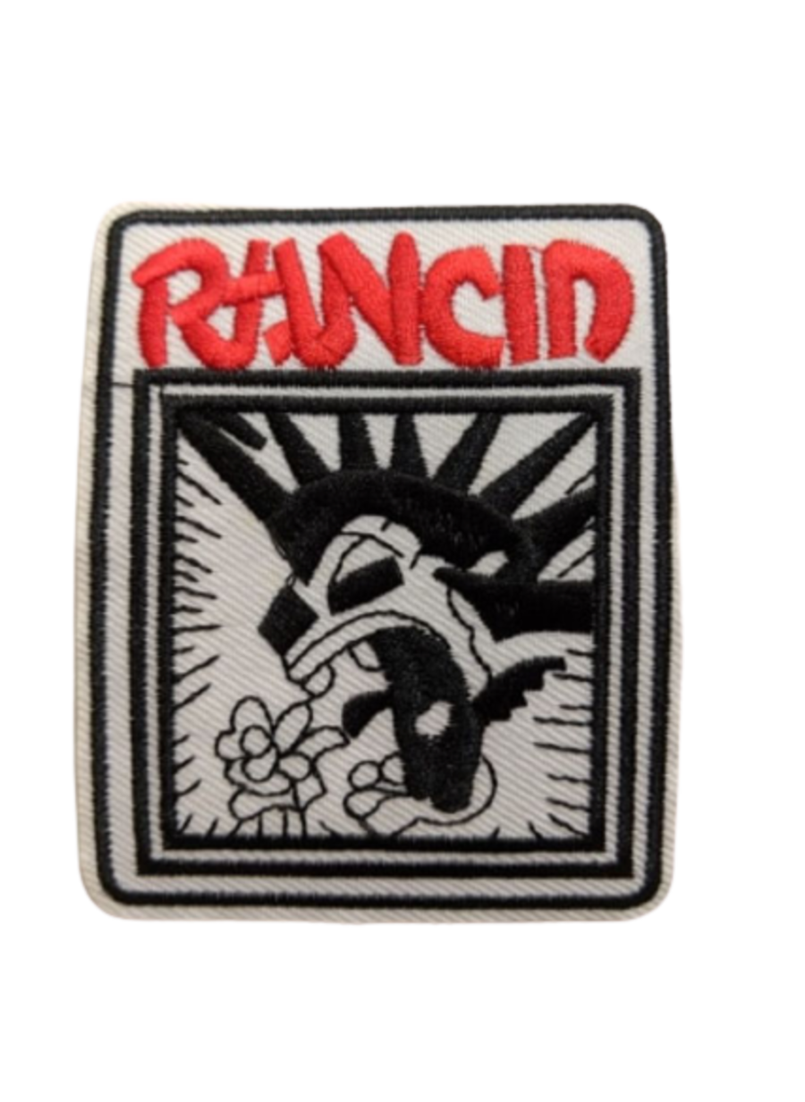 Rancid White Iron On Patch