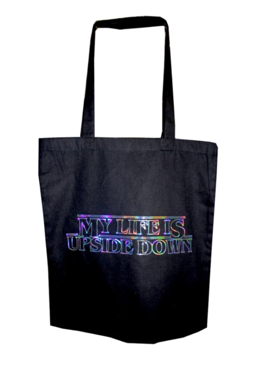 My Life Is Upside Down Tote Bag. Stranger Things inspired black cotton reusable shopping bag