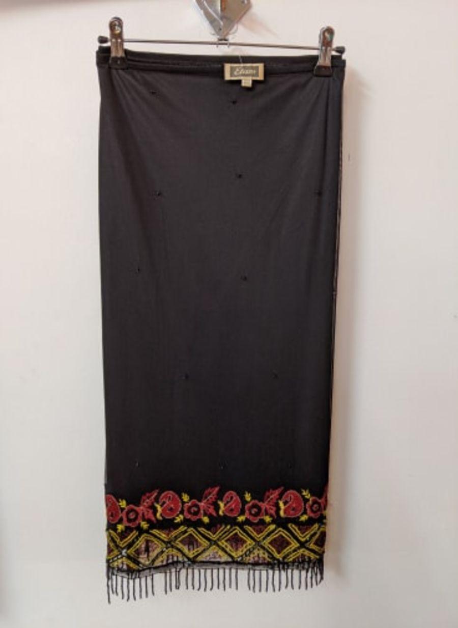 Vintage Womens Etam Black Flowered Beaded Fringe Hem