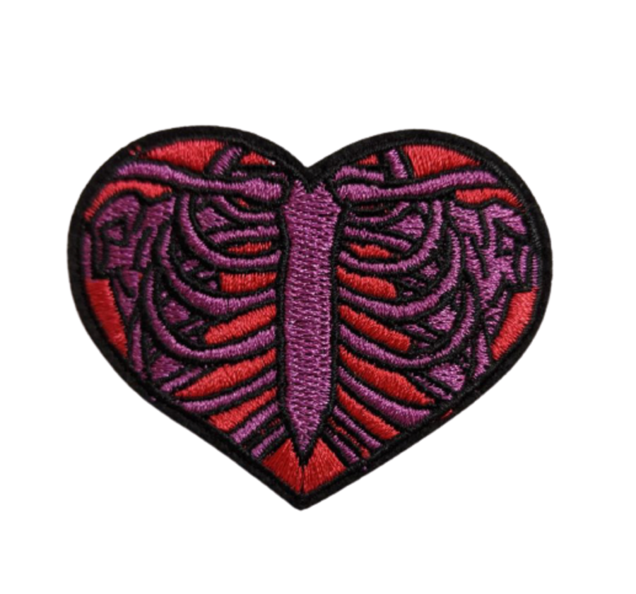 Red Heart with Purple Rib Cage Iron On Patch