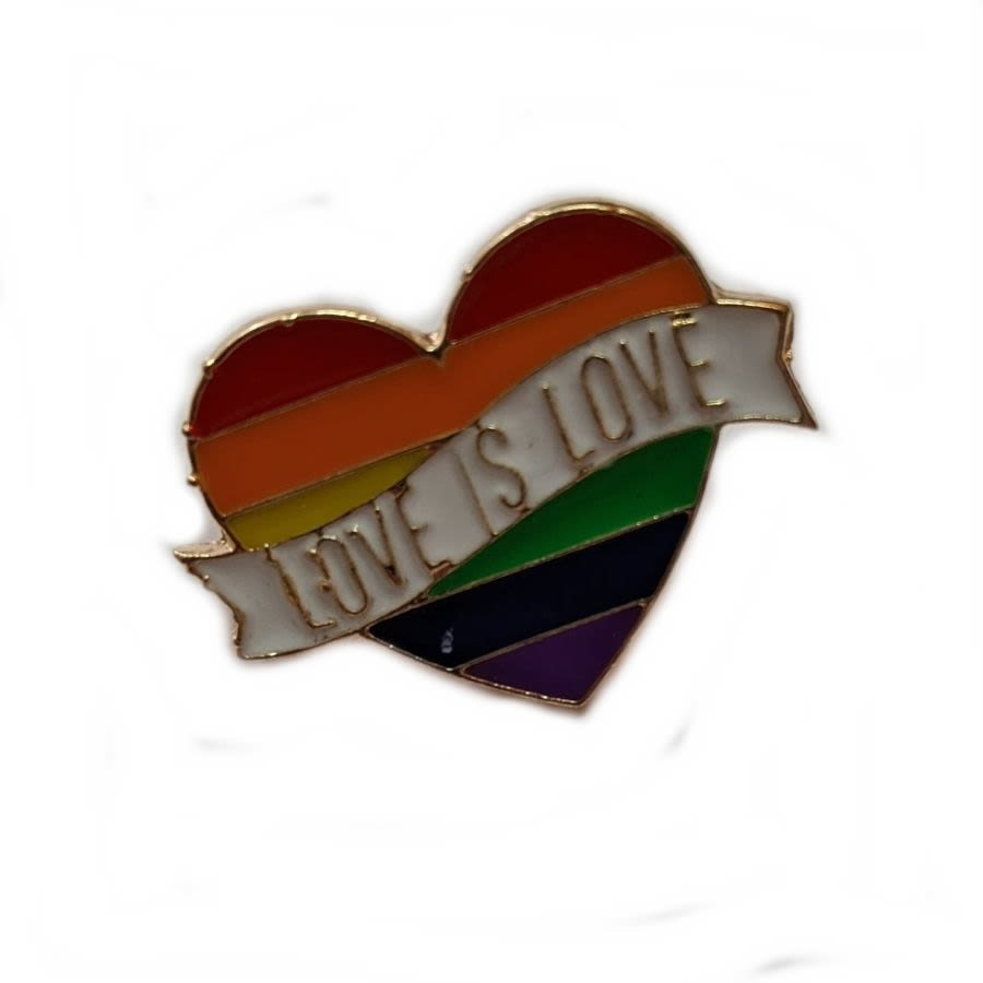 Rainbow Heart 'Love Is Love' Enamel Pin Badge