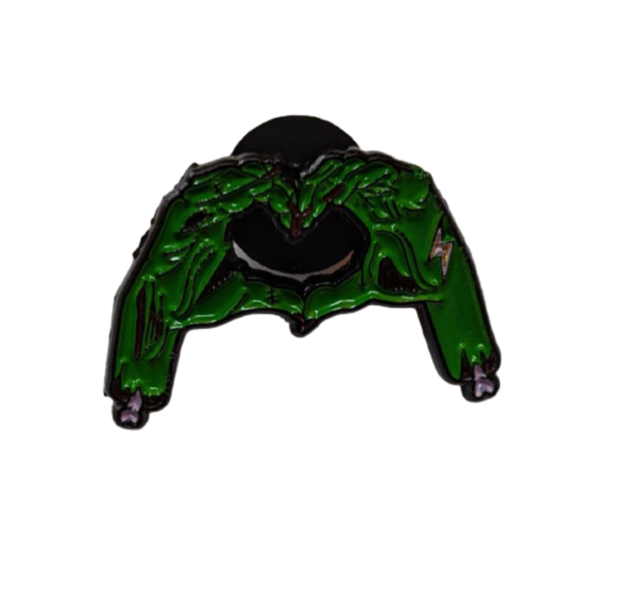 Zombie Hands Make A Heart Enamel Pin