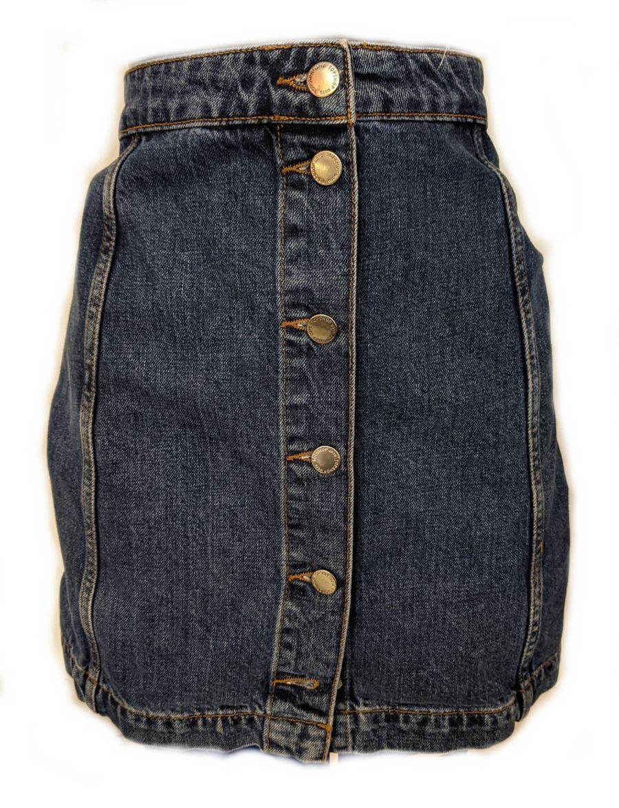 Vintage Moto Denim Button Up Skirt