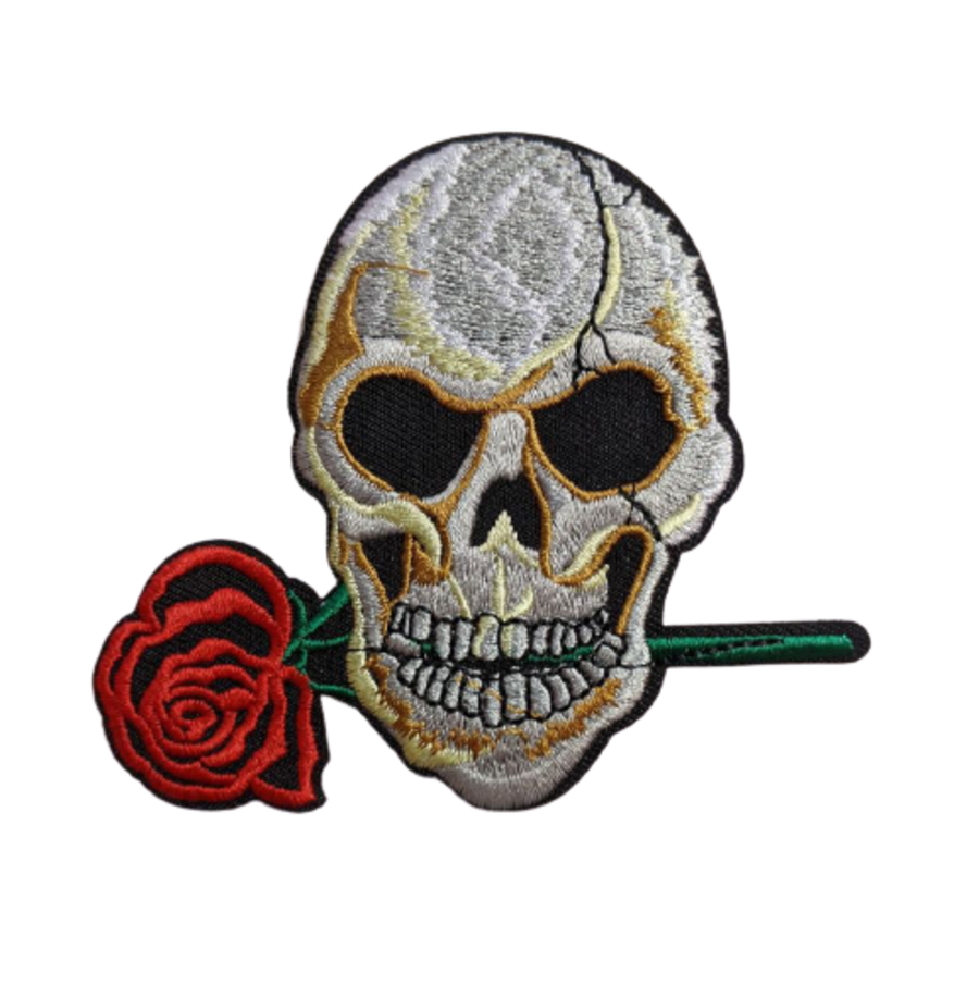 Large Skull with Rose in Mouth Iron On Patch