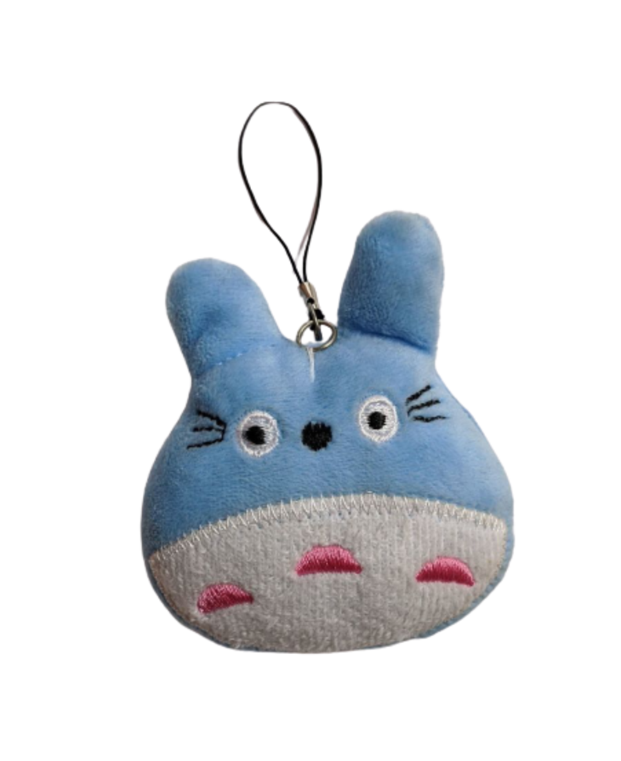 Kawaii cuddly My Neighbor Totoro blue plushie with attachment for keyring.