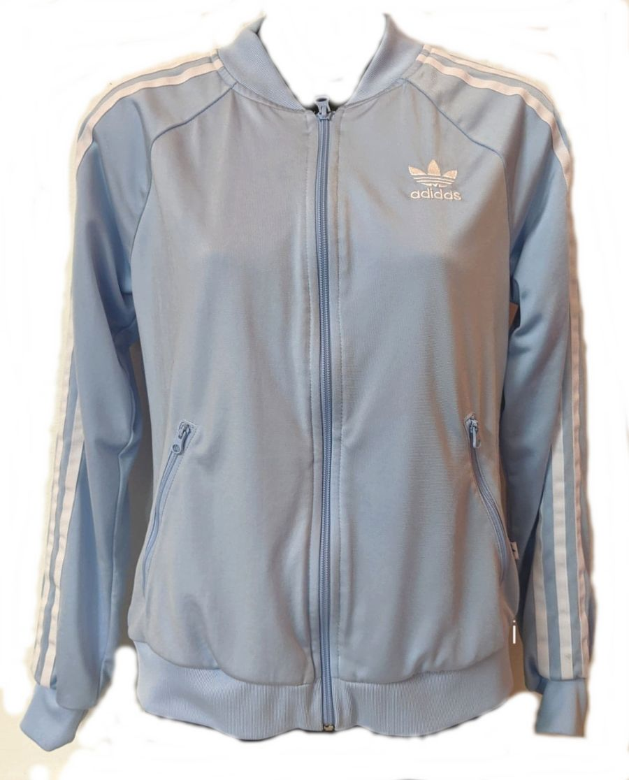 Vintage Y2K Adidas baby blue tracksuit jacket in good condition.