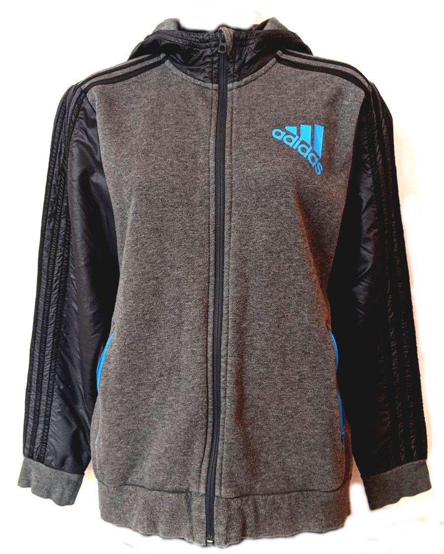 Vintage 1990's Grey and Black Adidas Tracksuit Jacket