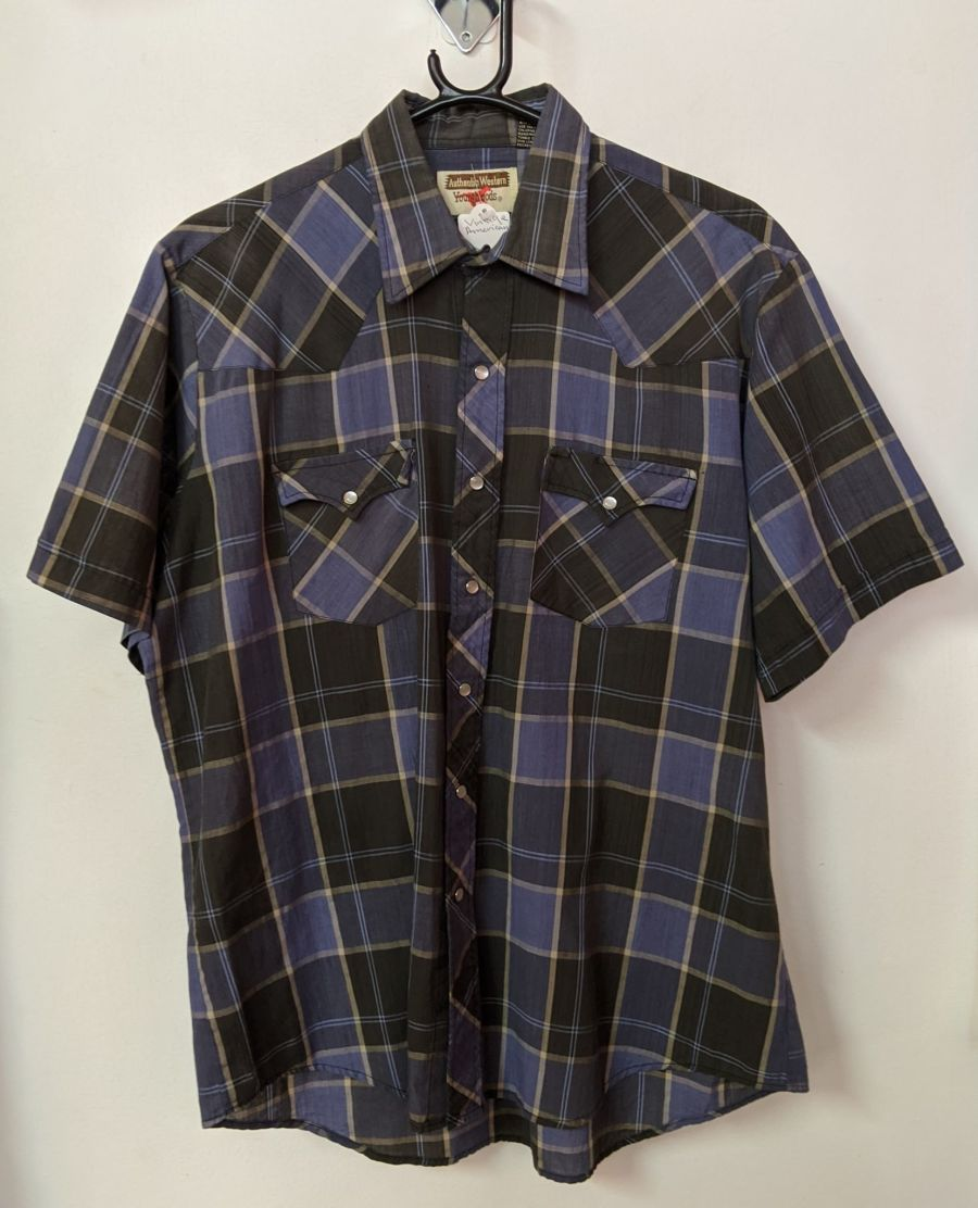 Vintage Authentic Western Young Bloods Blue Flannel Shirt