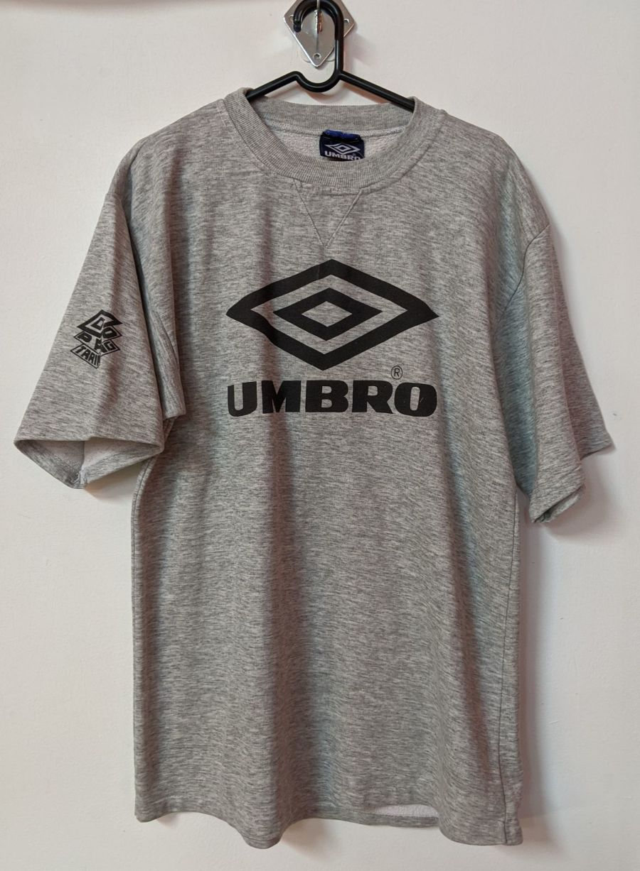 Vintage 1990's Grey Umbro Short Sleeve Jumper Sports Top