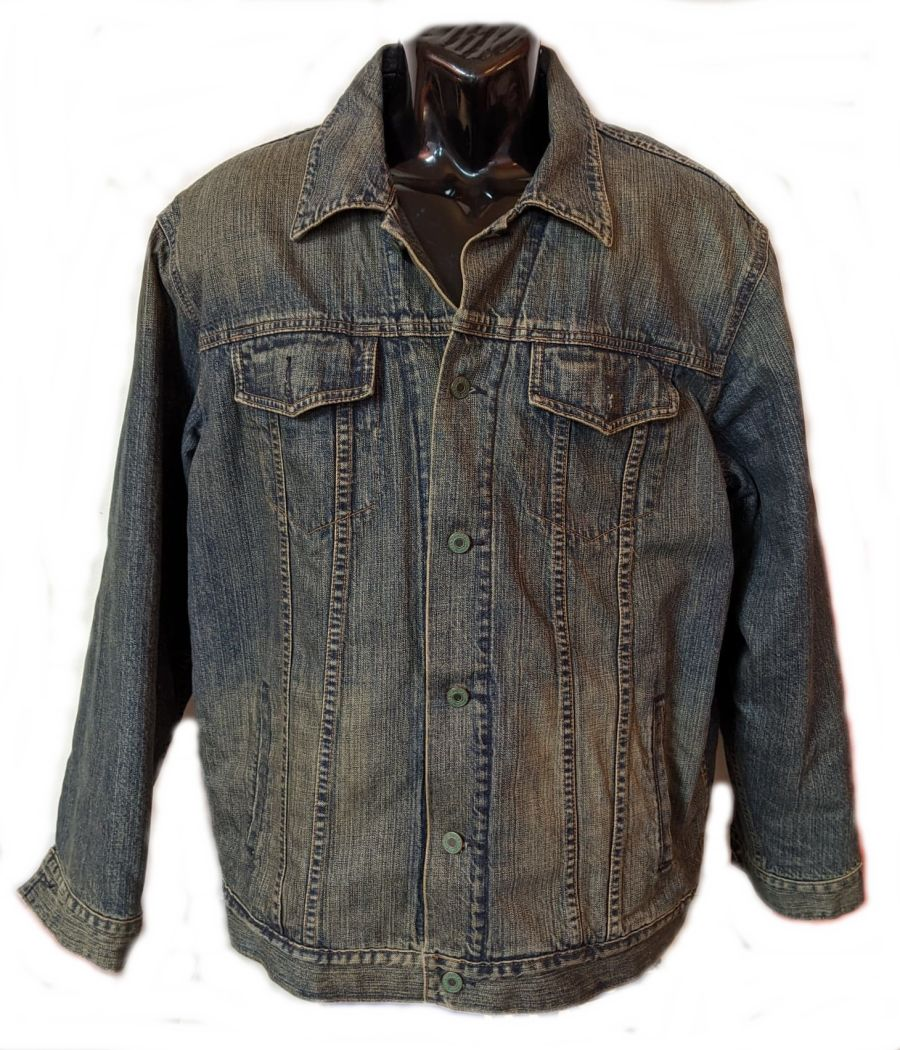 Vintage Y2K Denim Jacket with striped fleece lining.