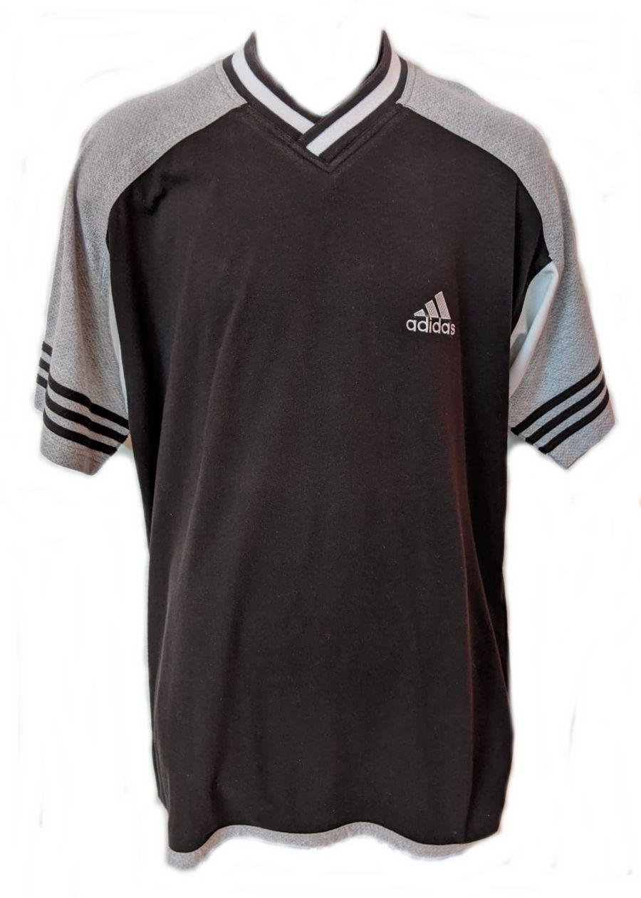 Vintage Black and White Adidas Short Sleeve Sports Top