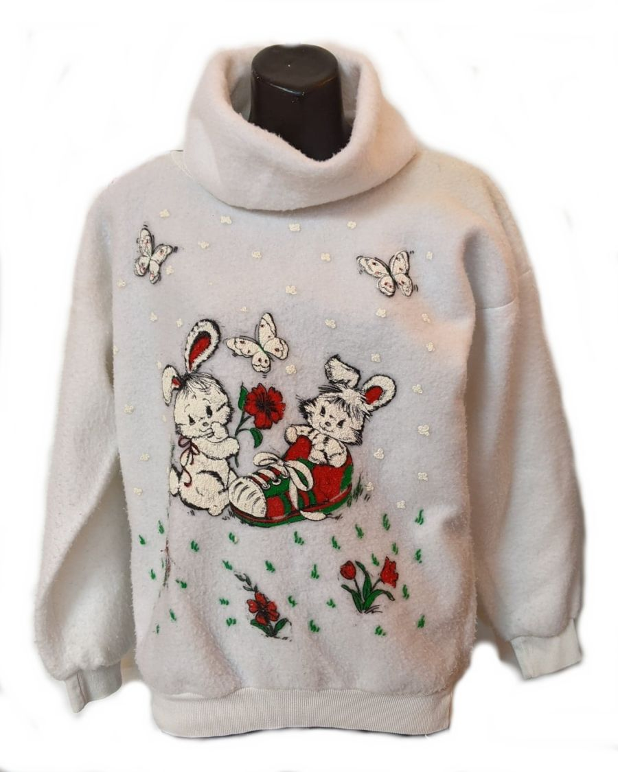 Vintage 1980's White Fluffy Bunny Turtle Neck Jumper