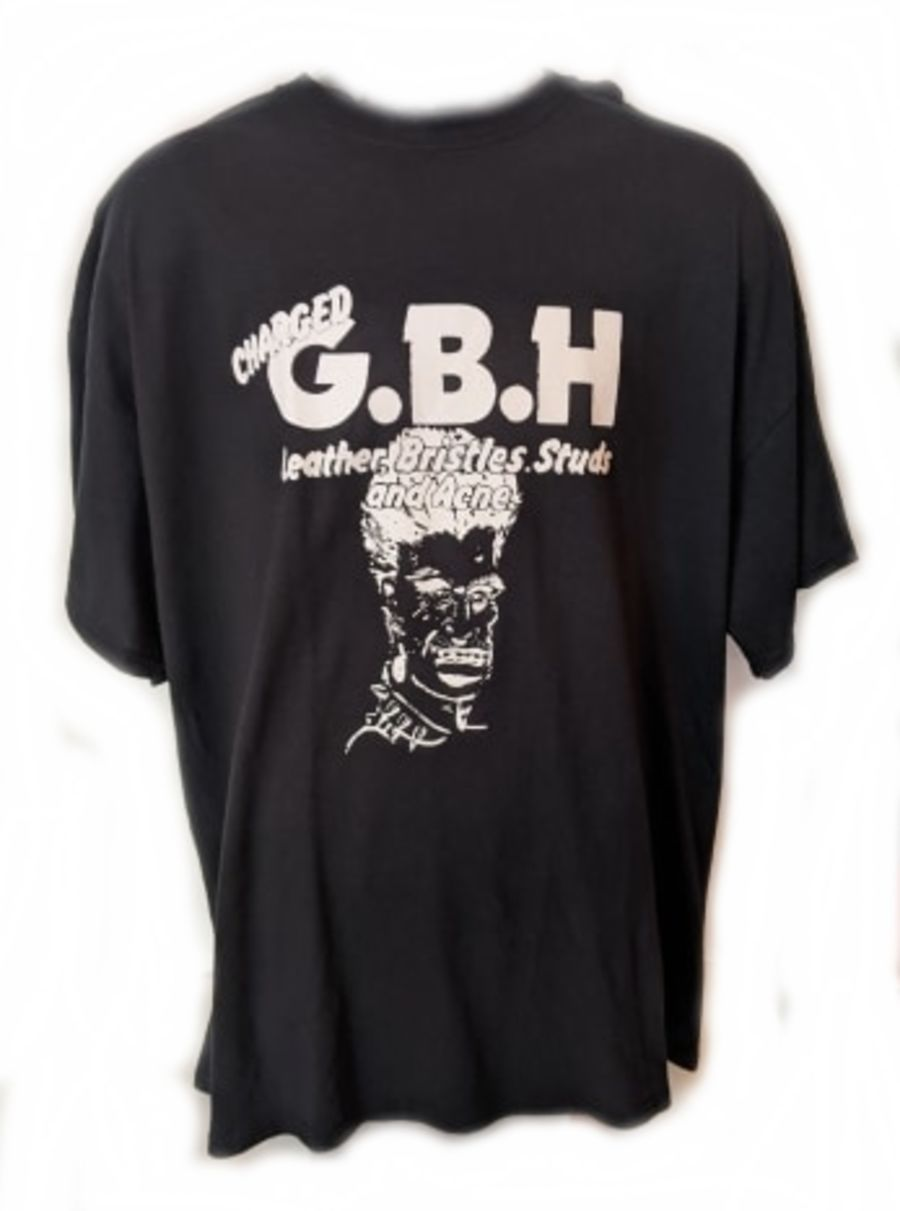 Vintage Punk GBH Leather Bristles Studs and Acne T-Shirt