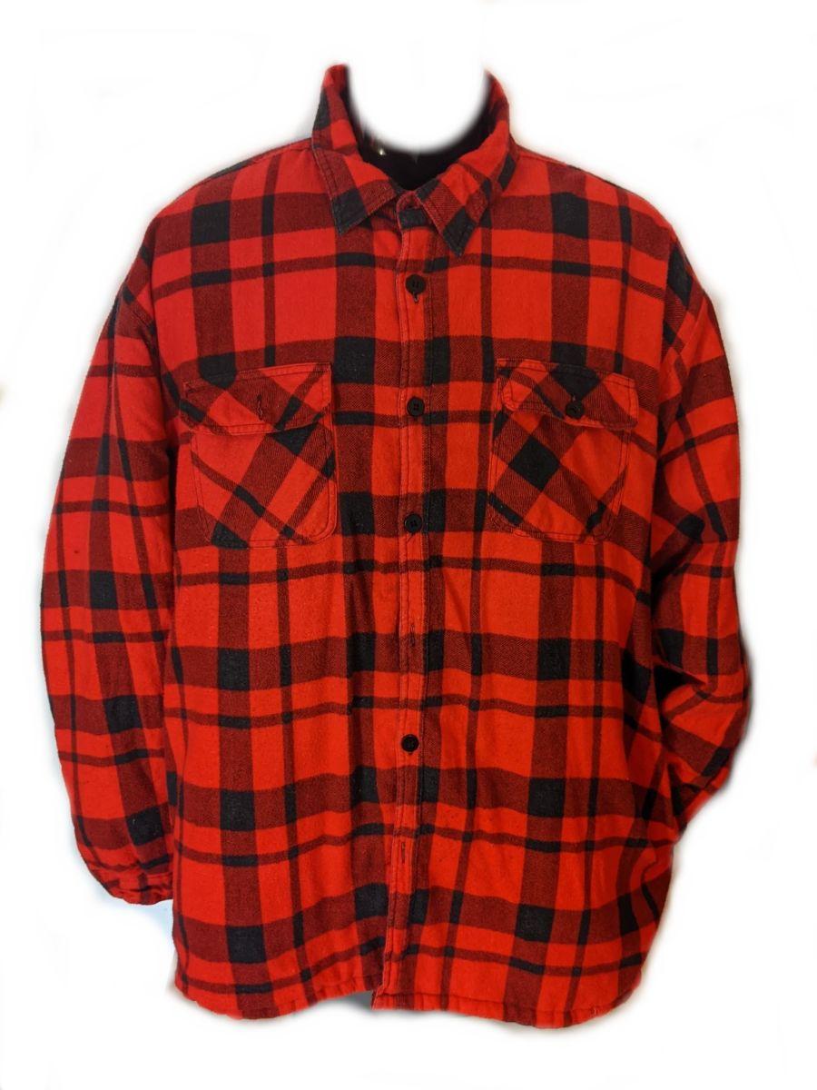 Vintage 90s grunge red padded flannel Shirt