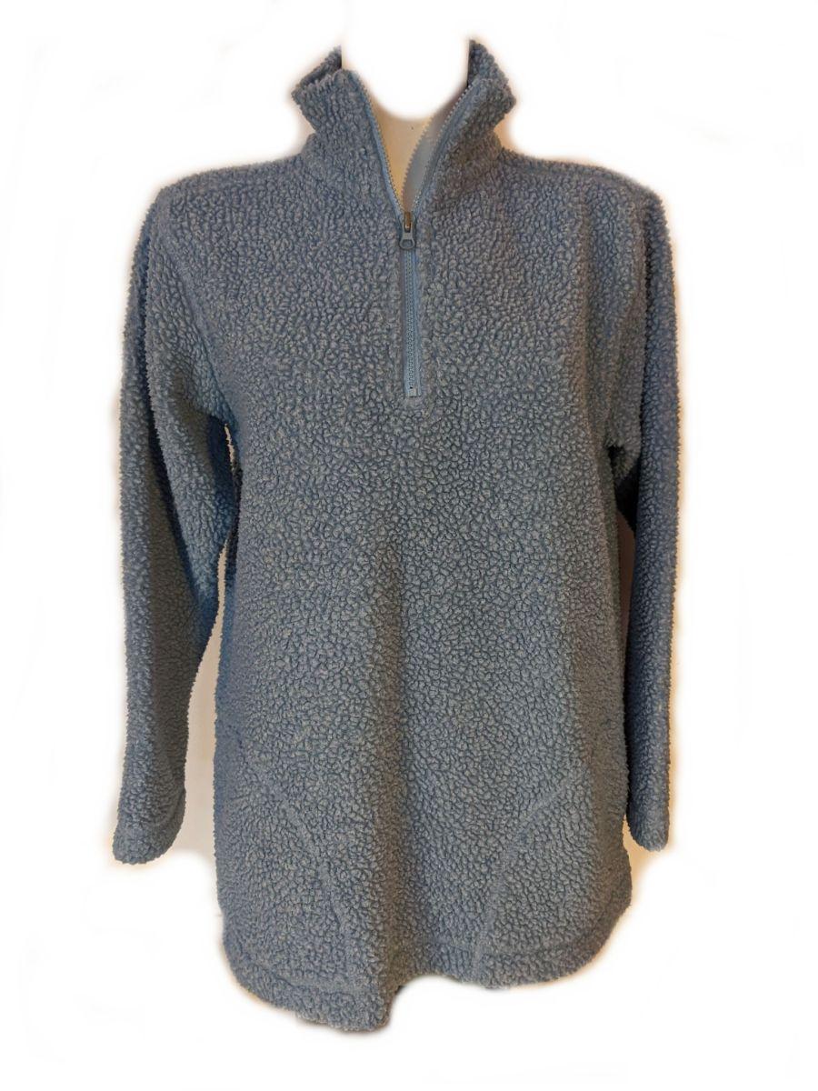 Vintage Y2K Light Blue Half Zip Fleece Sweatshirt