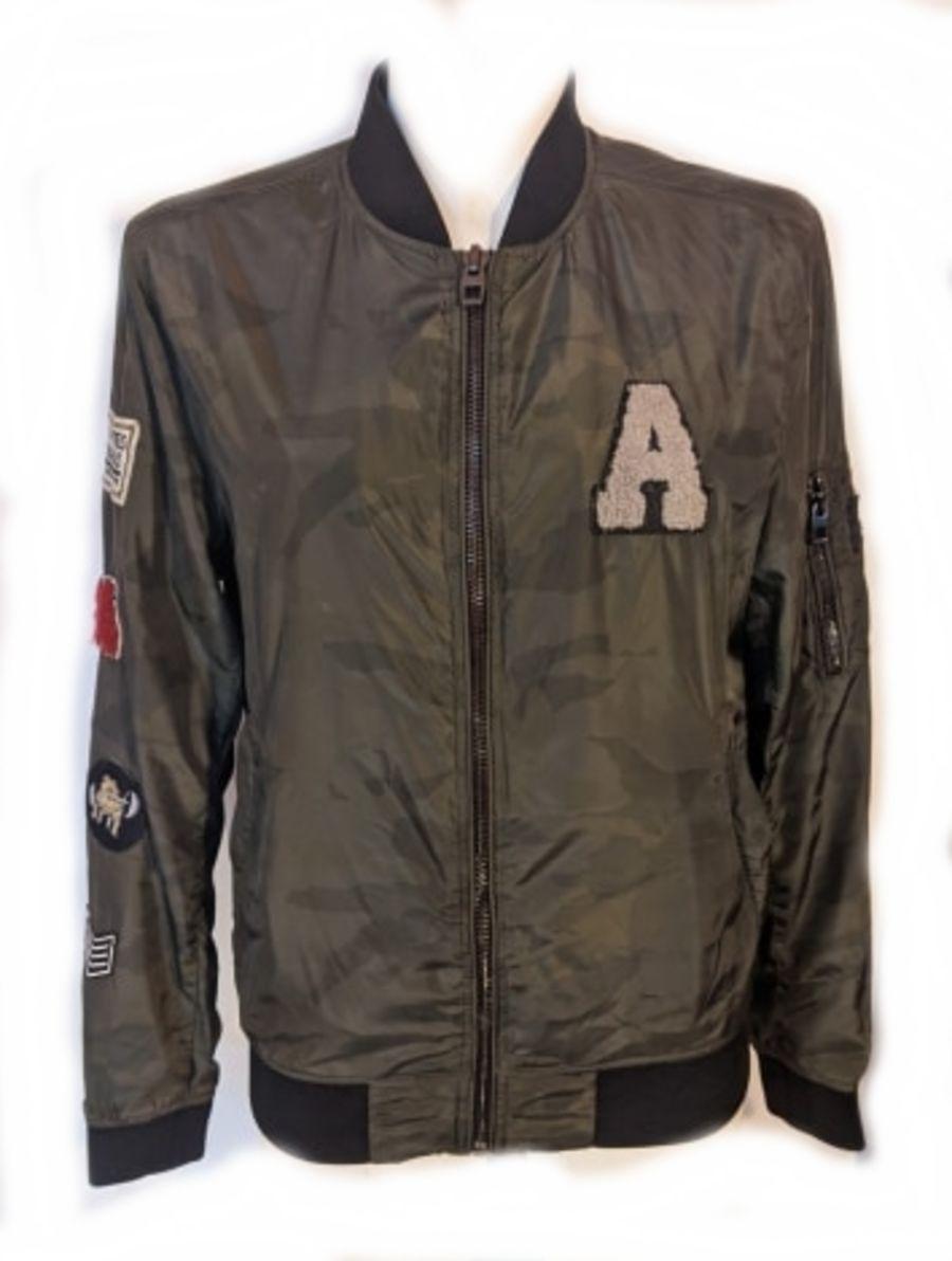 Vintage y2k Zara Camo Patch Bomber Jacket